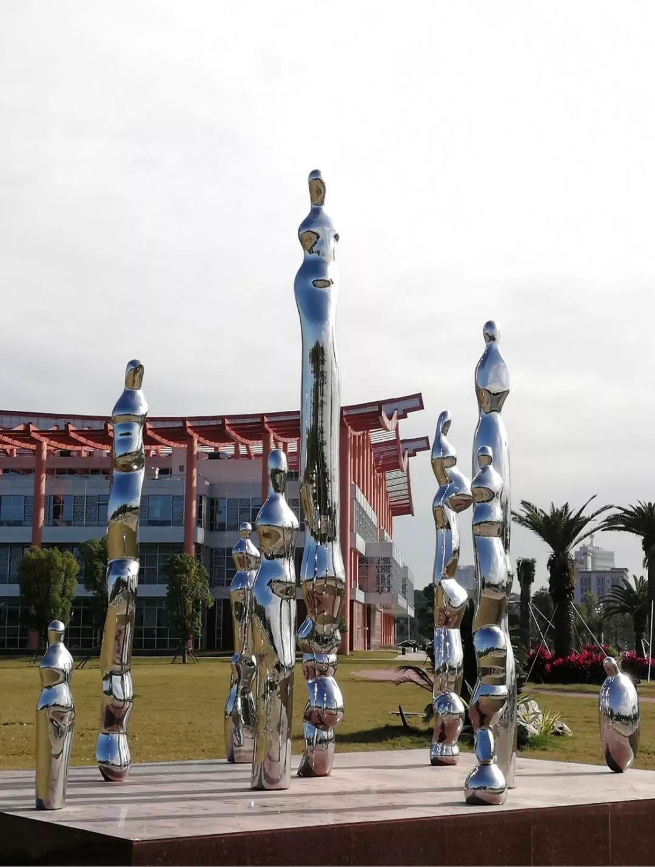 漳州四仙女城市雕像在夜光的映衬下宛如人间仙境