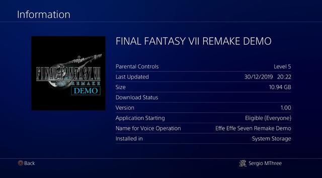 《最終幻想7:重制版》Demo大小:10.94GB_游戲