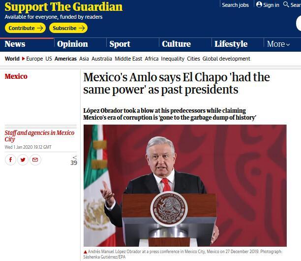 """墨西哥总统向前任""""开炮"""":大毒枭曾拥有与他们相同的权力"""