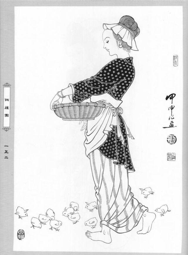 刘公华人物作品 白描仕女两百态 一图片