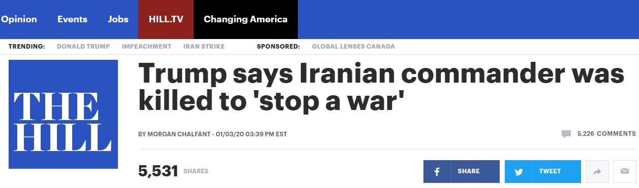 特朗普:杀死伊朗将军,是为了阻止而不是挑起战争!