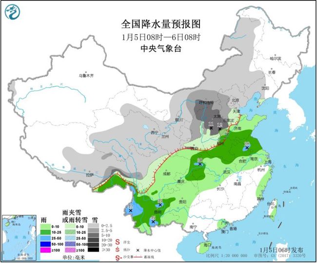<b>西北地区东部华北黄淮等地有较强雨雪</b>