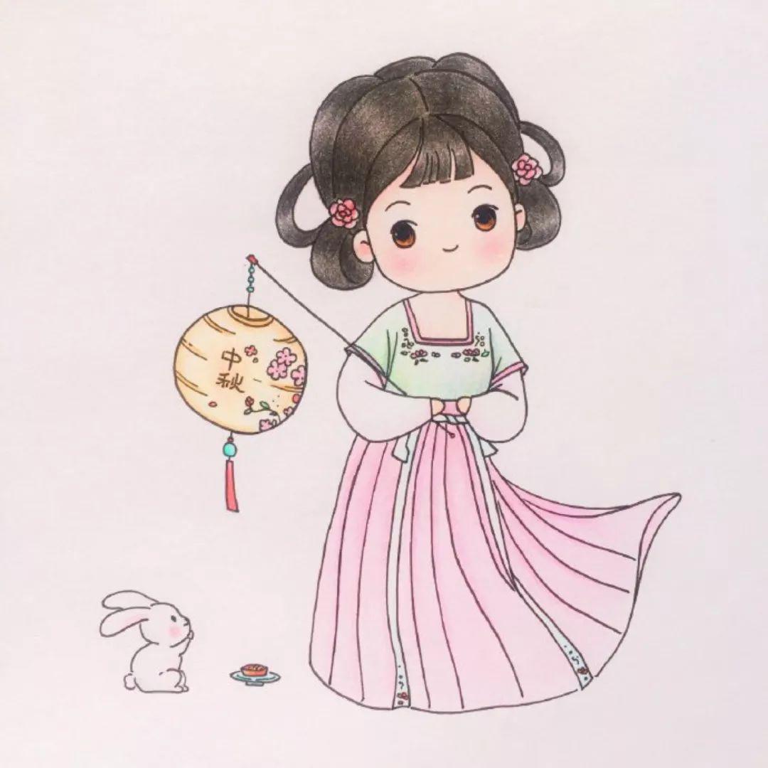 简笔画古风汉服小姑娘,真的太可爱啦  图 @爱画画的橙子 