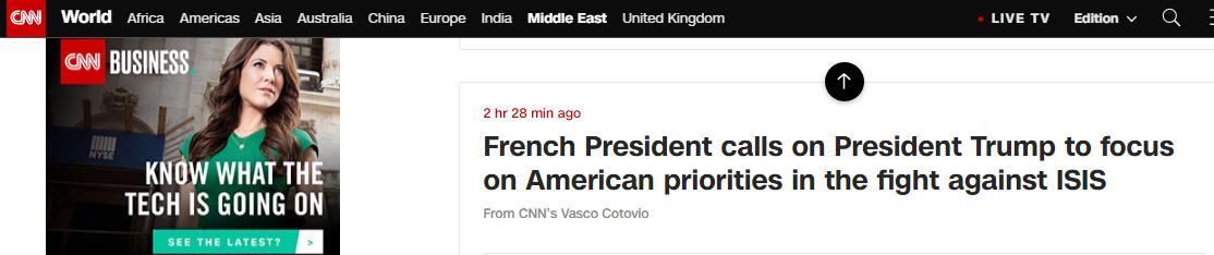 局势升级!马克龙紧急致电特朗普:尊重伊拉克主权,打击IS_时间