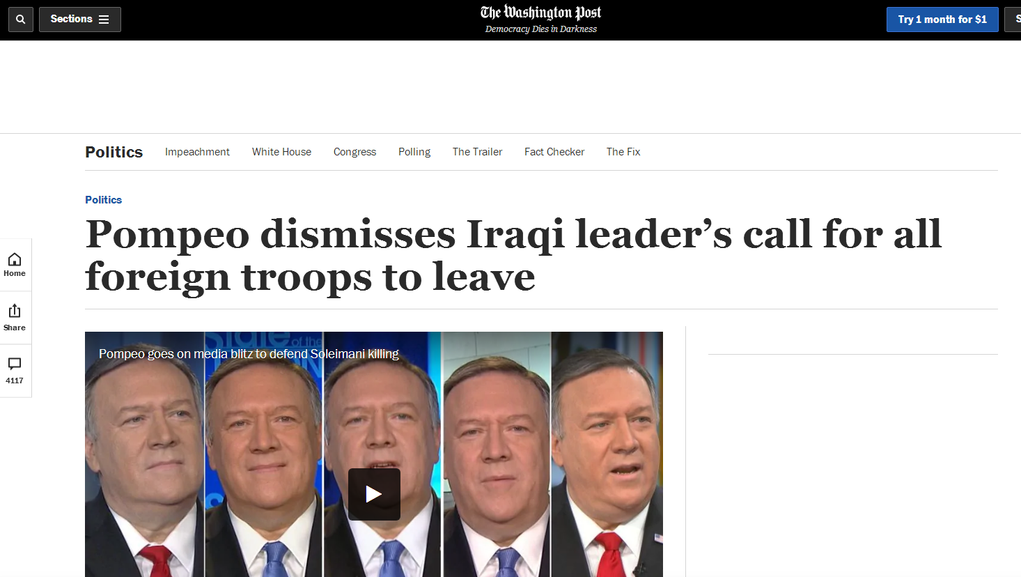 伊拉克议会要求外国军队撤出,蓬佩奥不屑:我们会继续留在那里_伊拉克政府