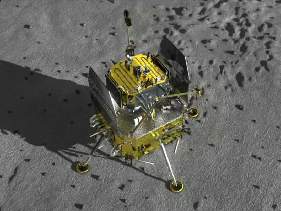 """嫦娥五号""""探测器由轨道器、上升器、着陆器和返回器构成,发射后经地月"""