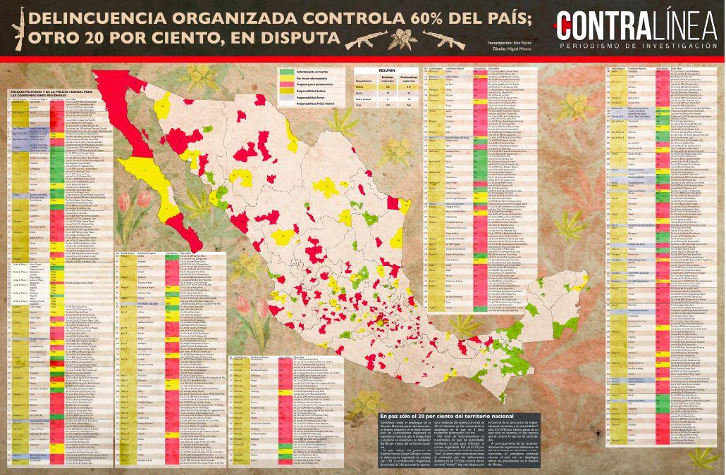 墨西哥某杂志社公布了一张由墨西哥总统洛佩斯·奥布拉多尔(AMLO)政府绘制的地图,地图上显示,80%的墨西哥领土是毒贩行动的热点地区。