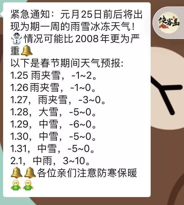 网传宁波春节期间将出现雨雪冰冻天气?真是这样吗?