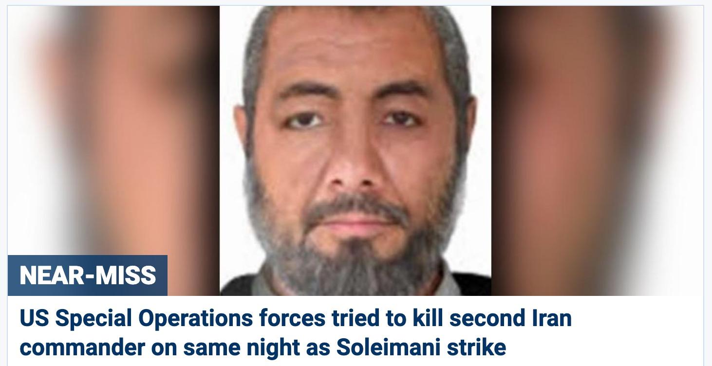 殺死蘇萊曼尼當天,美國刺殺另一名伊朗高級將領失敗