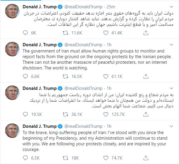 """特朗普表示和伊朗抗议者站在一起!并警告德黑兰:""""全世界都在看着"""""""