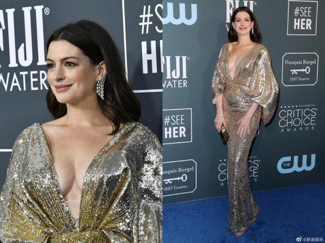 安妮海瑟薇生完二胎更美了,金色礼服现美好身材,老公一旁看傻了