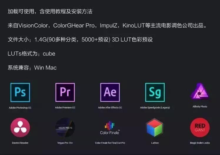 5000组电影级3D LUT调色预设支持AE PR PS FCPX 达芬奇 SG 使用教程