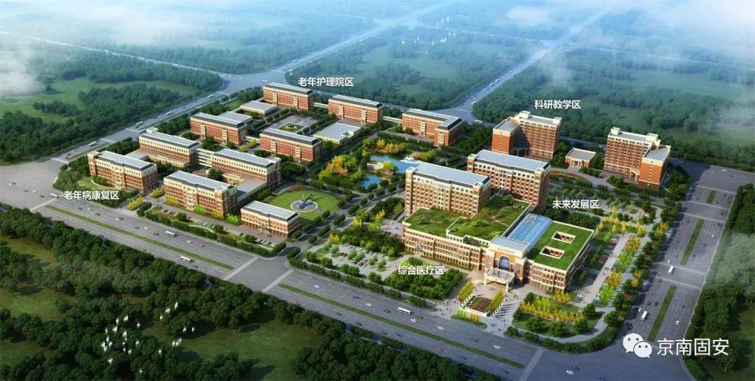 固安幸福医院规划图   固安幸福医院一期建筑面积10.8万平米,包括综合医疗大楼(急诊、门诊、医技、住院、后勤保障)、值班公寓楼和学术报告厅,设置床位540张,严格按照国内三级甲等综合医院建设、同步导入jci国际医院评审,已经与首都医大附属北京友谊医院建立