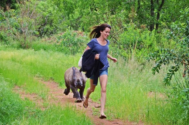可怜的小犀牛在饿急的情况下只能吃土,照顾它的饲养员是个年轻的姑娘Jamie