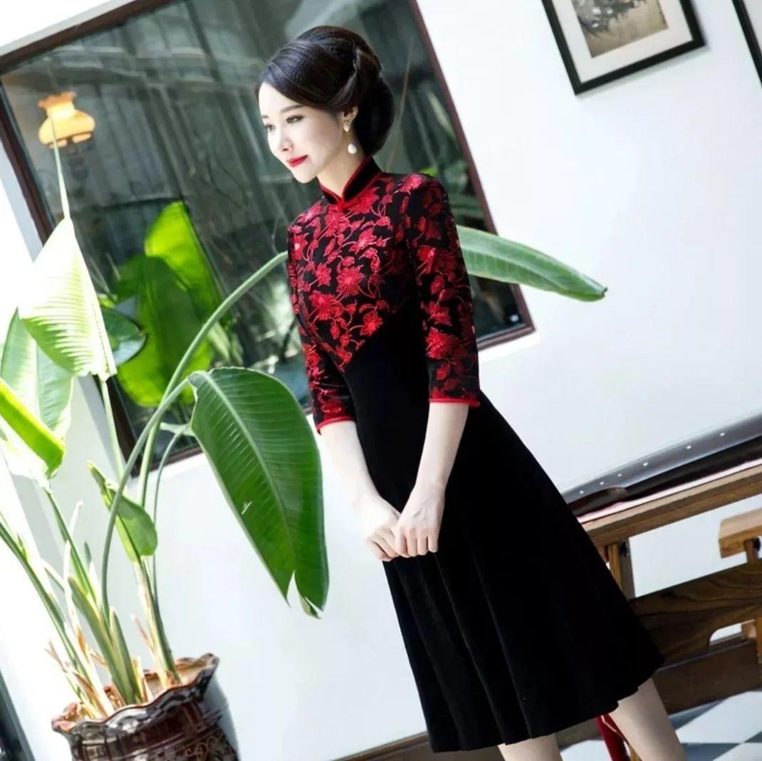 金丝绒黑色旗袍