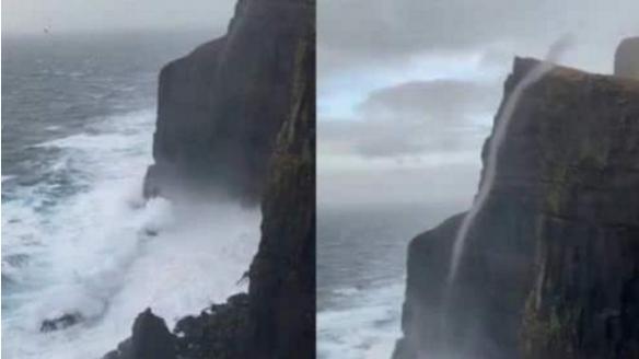 这不科学!丹麦反重力瀑布 海水逆流直上470米高悬崖