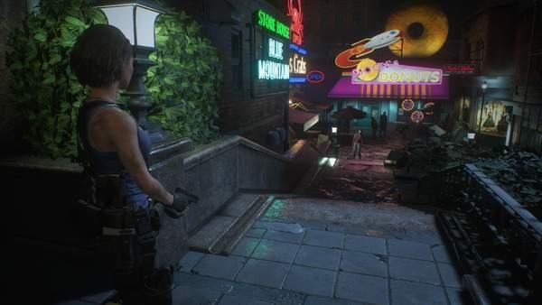 《生化3:重制版》实机截图追踪者肩扛火箭筒痛殴吉尔