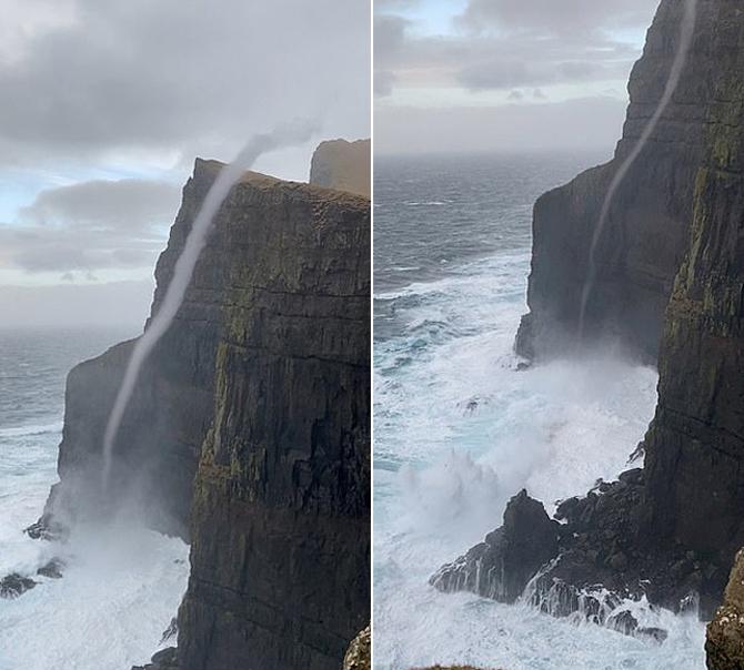 """丹麦现""""反重力""""瀑布逆流而上冲过470米绝壁"""
