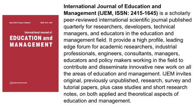 北京爱迪国际学校PBL研究成果在国外知名期刊发表