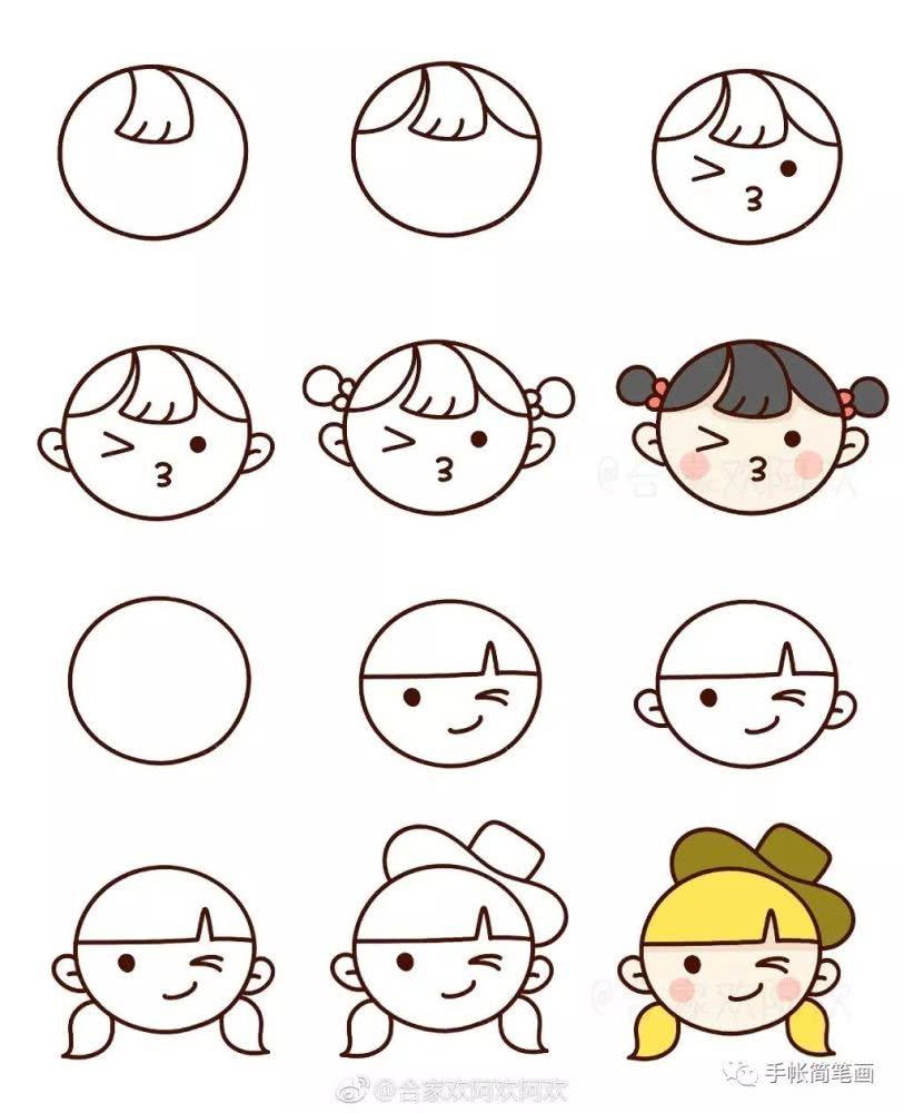 可爱的小人儿简笔画 卡通动漫人物 千千简笔画移动版