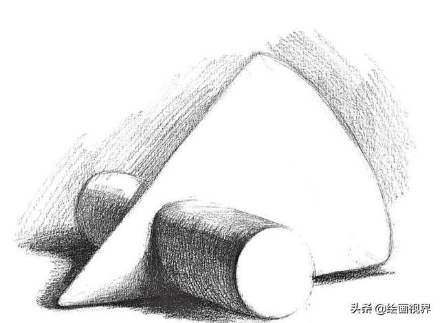 零基础素描教程 分步骤讲解单个石膏贯穿体的画法,快来学习临摹