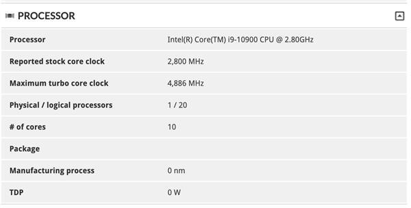 <b>十代酷睿i9-10900首次露面:10核心、睿频4.9GHz</b>