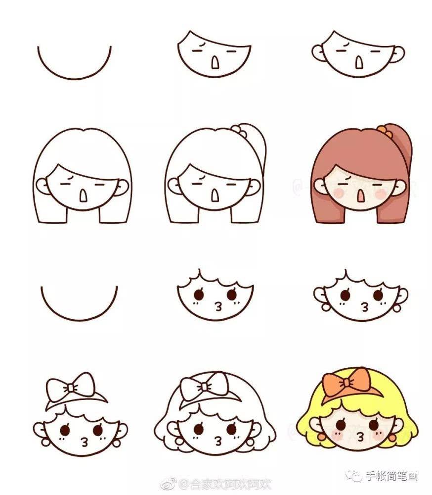 呆萌可爱卡通简笔画