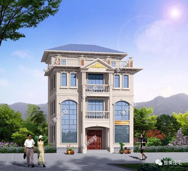 四层农村别墅设计图,10.5 15.4米,配落地窗和大露台,美观实用 盖房知识