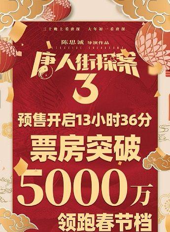 王宝强主演《唐人街探案3》一骑绝尘,预售票房已突破5千万元大关插图(5)