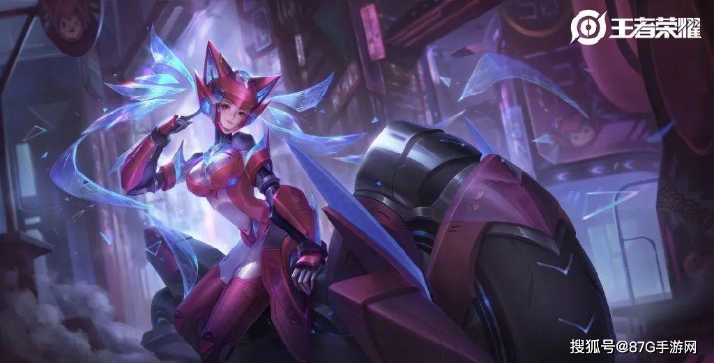 王者荣耀:孙尚香星传说皮肤特效展示,粉红色的摩托很拉风!