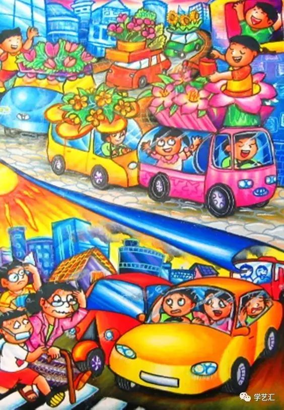 儿童创意主题画作 我的梦想车