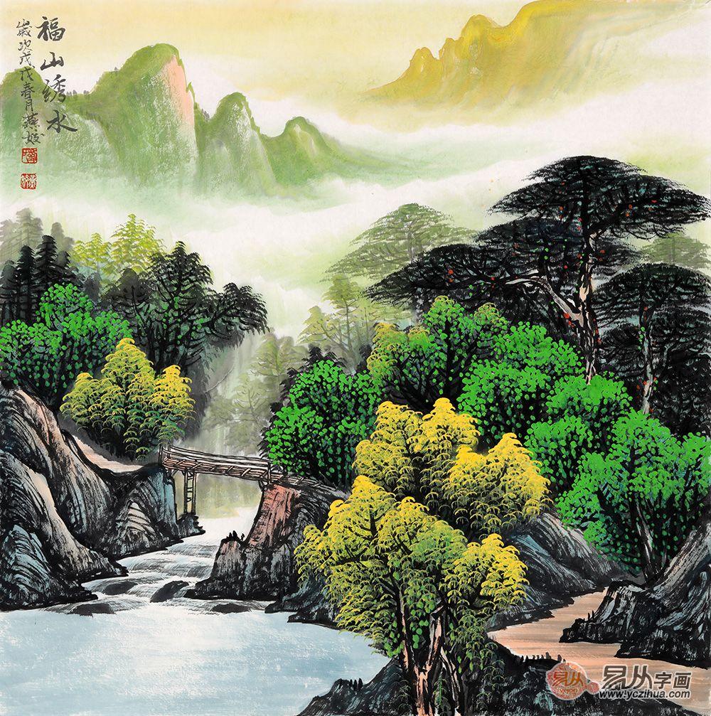春晖盛景图 刘燕姣最新斗方青绿山水画力作《福山绣水》