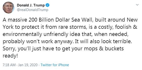 """特朗普""""炮轟""""紐約建造巨型海堤計劃:費錢、對環境也不好,還是準備好拖把和水桶吧!"""