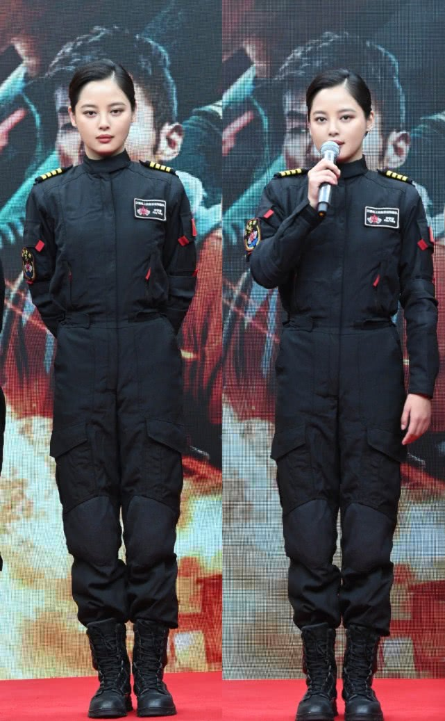 辛芷蕾宣传新电影,穿黑色制服配短靴,同框蓝盈莹帅气似姐妹花