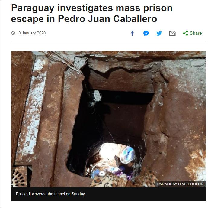 巴拉圭75人挖地道越狱 部长:不可能没人看见