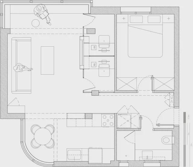 51㎡小公寓竟能挤出两间小