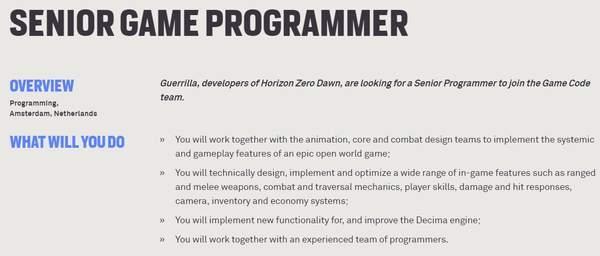 《地平线:零之黎明》开发商再发招聘续作或包含多人