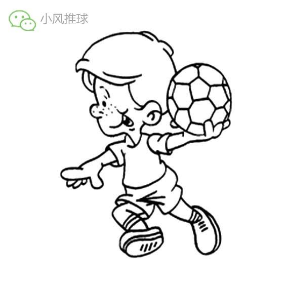 儿童运动简笔画踢足球的男孩简笔画图片 育才简笔画