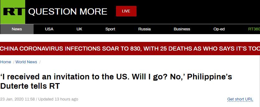 """是否接受特朗普访美邀请? 杜特尔特连说两遍""""不"""""""