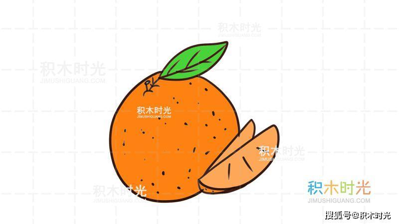 橘子简笔画教程,画橘子简笔画,积木时光简笔画