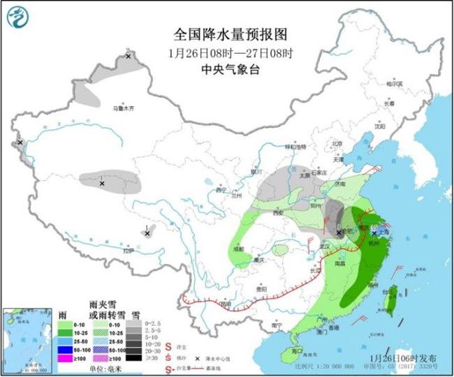 今日黄淮等地仍有降雪 27日起降水过程趋于结束
