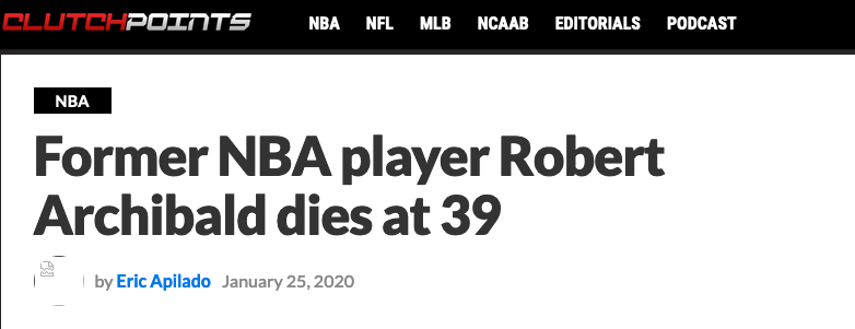 哀悼!39岁中锋猝死 和姚明同年进入NBA 大加索尔