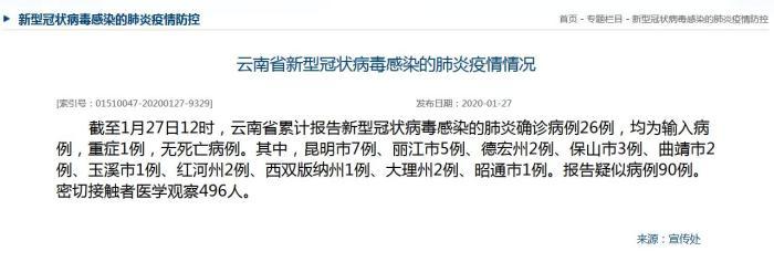 截至1月27日12时云南累计报告新型肺炎确诊病例26例