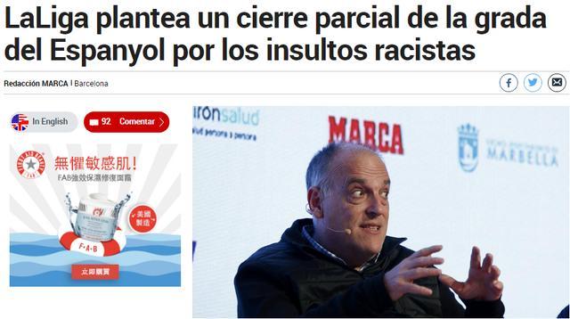 保级雪上加霜!西班牙人球迷种族歧视对手 或遭西甲联盟处罚