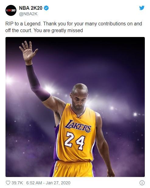 2K官方和玩家纷纷在《NBA 2K20》中纪念科比