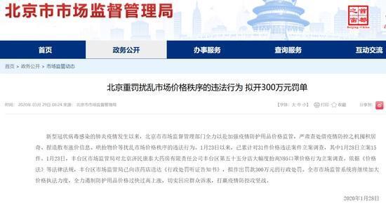 【北京市场监管局:一药房抬高口罩价格重罚300万】 药房有卖口罩的吗