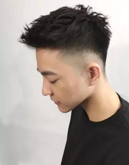 把两边的头发用推子推短,鬂角处用剃刀精心处理,整个发型清爽不失个性