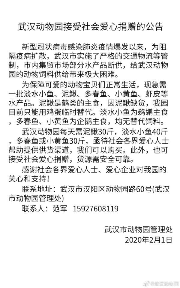 武汉动物园饲料告急:鹤类、鹈鹕、企鹅急需泥鳅、小黄鱼等