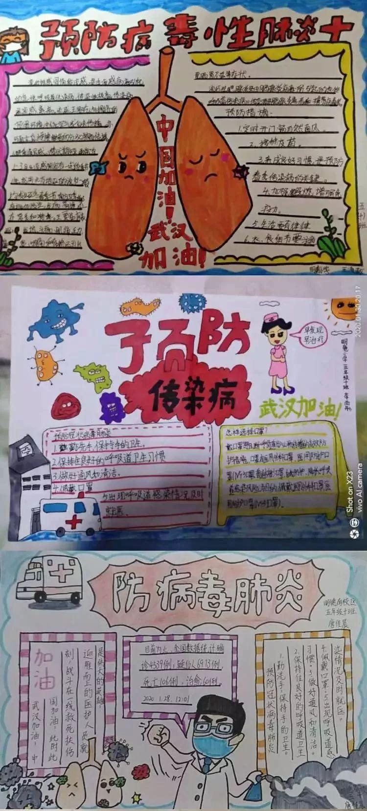 的队员们通过绘制手抄报,与父母一起学习疫情防控知识,为武汉助力加油
