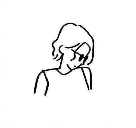 黑白简笔画头像女生头像